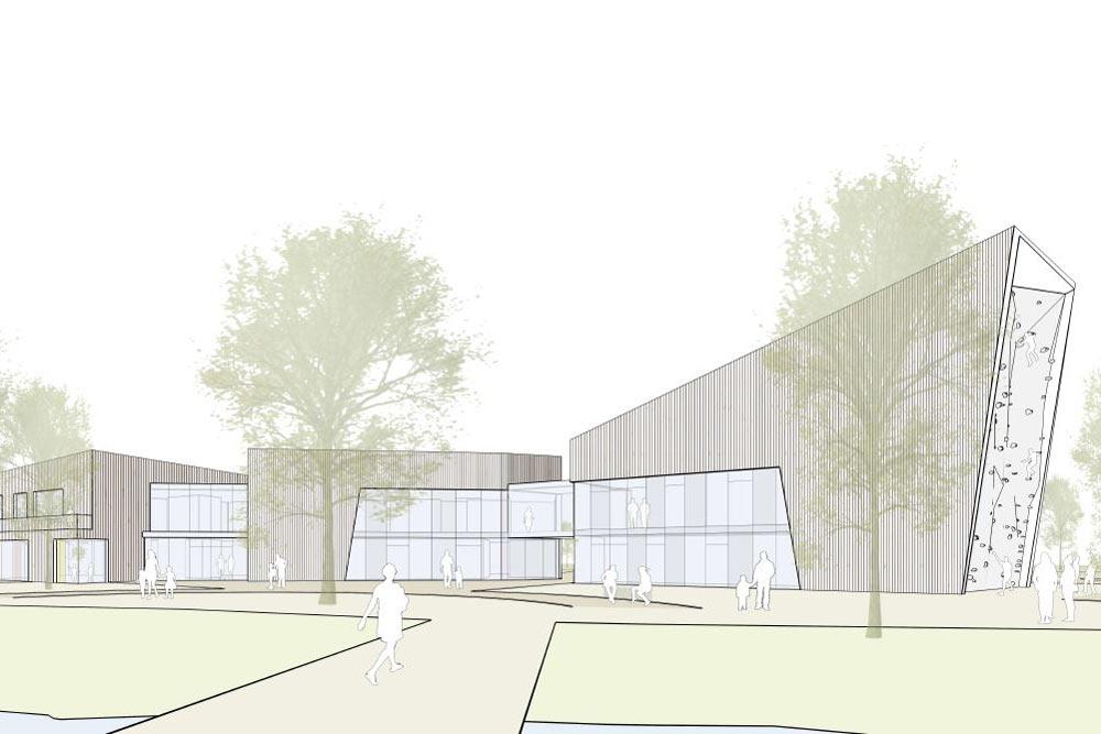 So soll der Neubau des sechsgruppigen Bewegungskindergartens im Sportpark Rems aussehen.