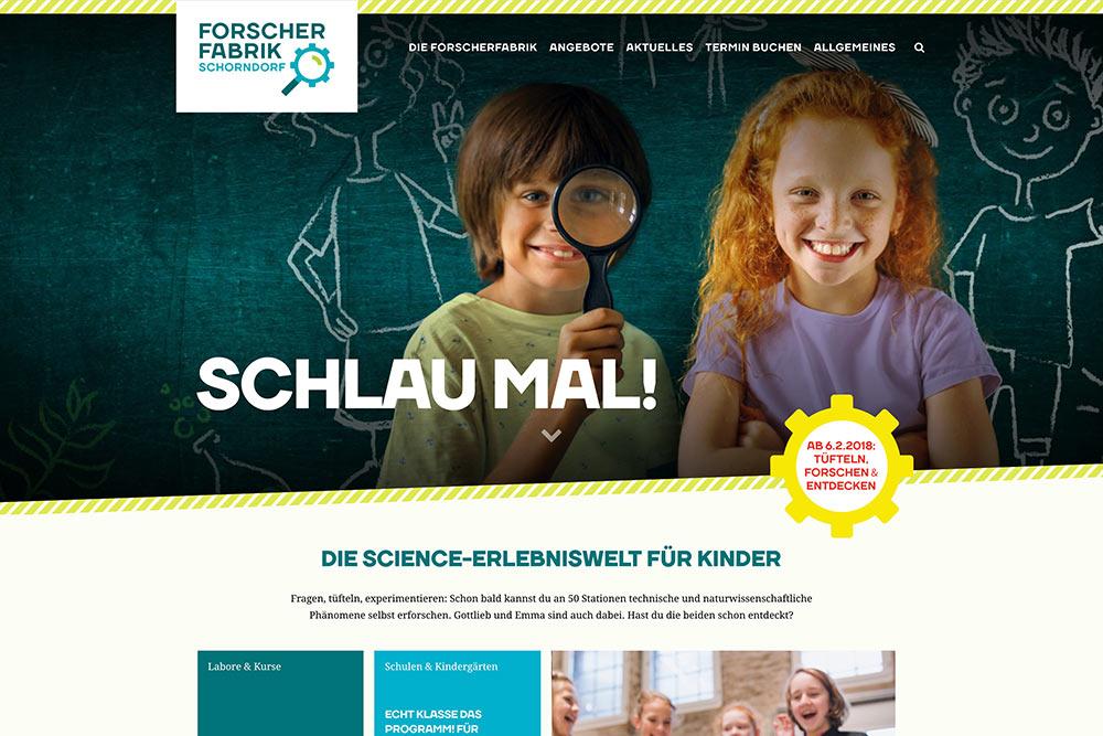 Website der Forscherfabrik Schorndorf