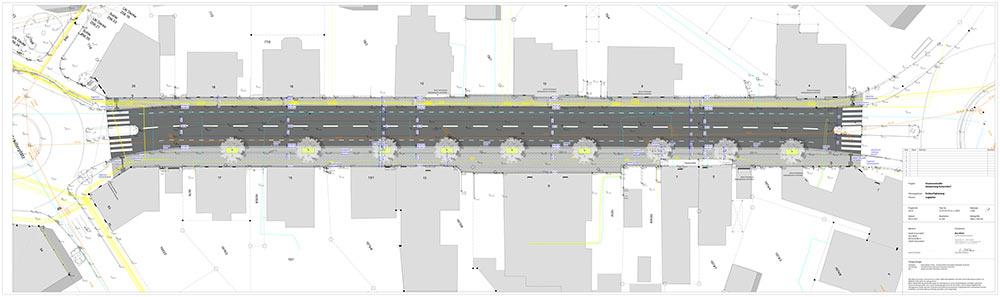 Plan der Feuerseestraße (links Schillerplatz, rechts Reinhold-Meier-Platz). Die Neugestaltung wird rund drei Monate dauern.