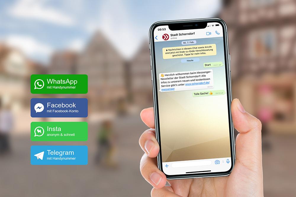 Ab sofort informiert die Stadtverwaltung auch über Messenger-Apps.