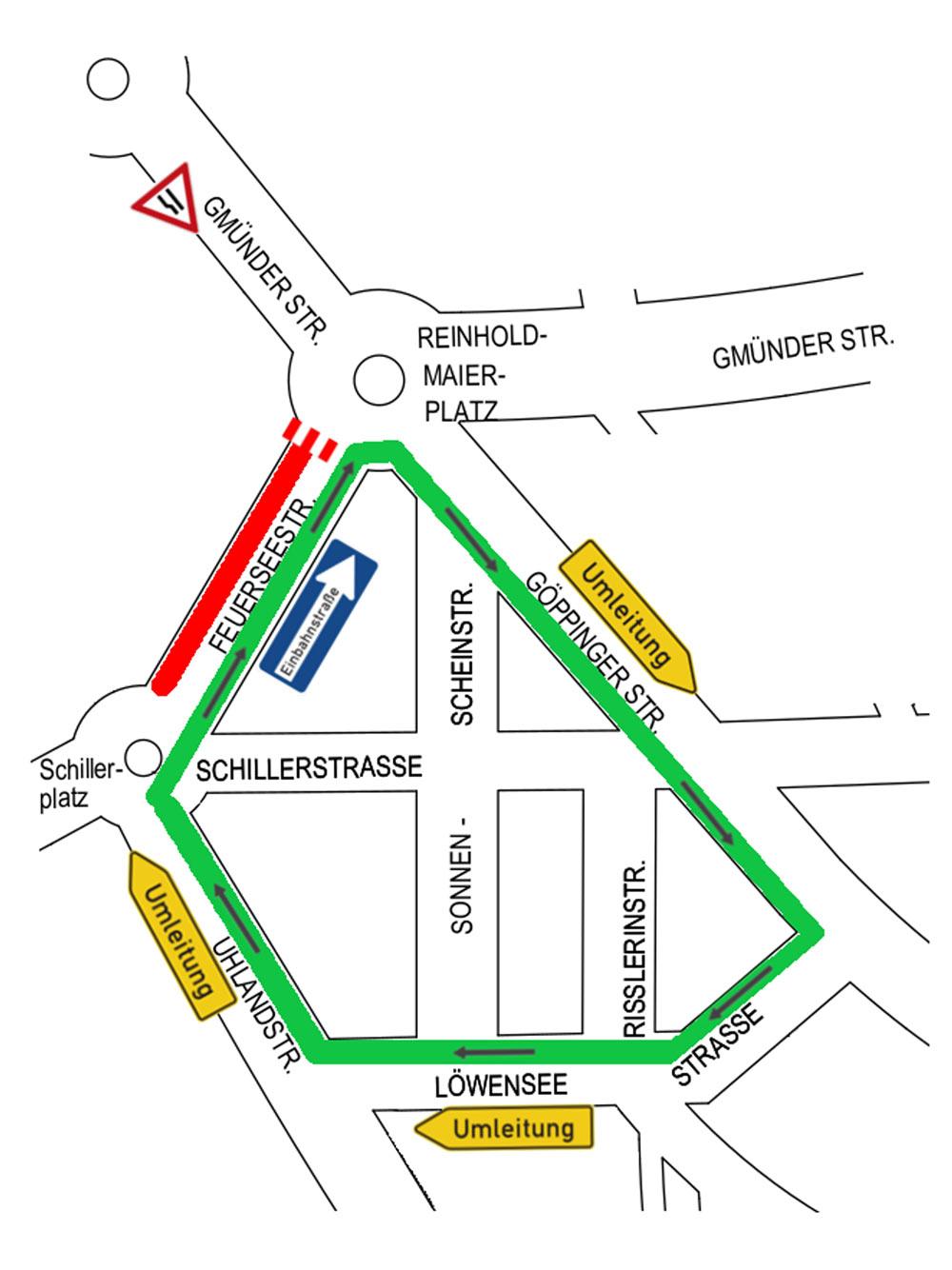 Bauphase 1: Vom 22. Januar für etwa vier Wochen ist die Feuerseestraße vom Reinhold-Meier-Platz Richtung Schillerplatz gesperrt. Die Umleitung erfolgt vom Reinhold-Meier-Platz über die Göppinger-, Löwensee- und Uhlandstraße zum Schillerplatz. Frei für den