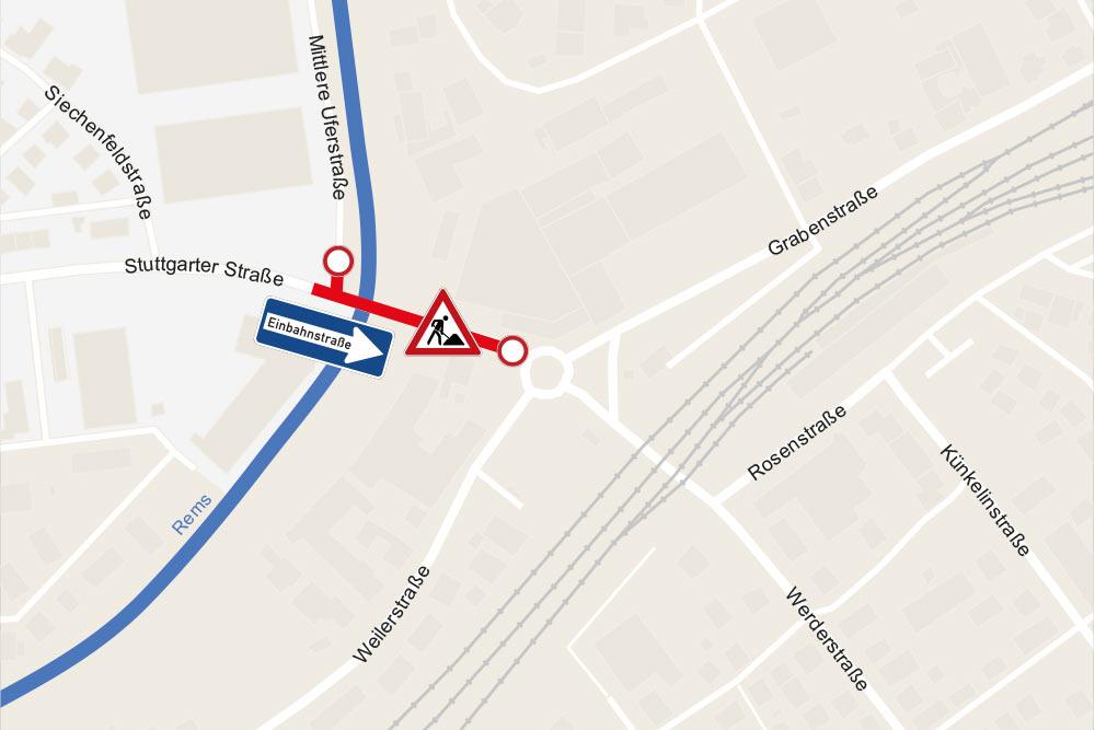Einmündung Mittlere Uferstraße gesperrt.