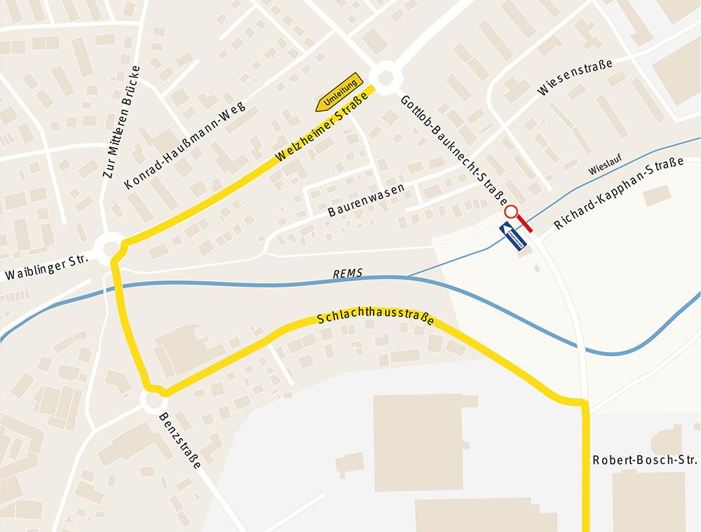 Neue Umleitung Gottlob-Bauknecht-Straße: stadtauswärtes frei, stadteinwärts gesperrt.