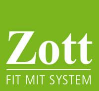 Logo des Zott Fitnessclubs in weißer Schrift mit grünem Hintergrund