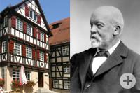 Links ist das Geburtshaus von Gottlieb Daimler und rechts ist ein Schwarz-Weiß Porträt von Gottlieb Daimler