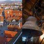 Schorndorf aus der Vogelperspektive und eine Kirchenglocke