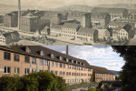 Das Röhm-Areal als historische Ansicht oben und die heutige Ansicht unten