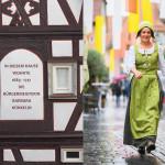 Links: Wohnhaus von Barbara Künkelin; Rechts: eine Stadtführerin, verkleidet als Barbara Künkelin, lehnt an einer Stadtmauer.