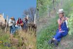Links: Einige Frauen stehen zwischen Weinreben in den Weinbergen und unterhalten sich; Rechts: Weindozentin Sigrun Trinkle sitzt in den Weinbergen und erzählt.