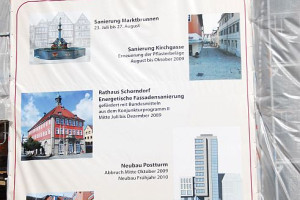"""Plakat mit der Aufschrift """"Baumaßnahmen Innenstadt Schorndorf"""""""