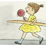 Zeichnung eines Mädchens, das mit einem Hund durch die Straßen läuft, im Hintergrund ist der Eifelturm