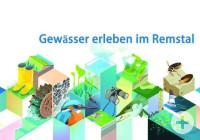 """Plakat mit der blauen Aufschrift """"Gewässer erleben im Remstal"""" und unterschiedlichen Tieren"""