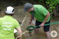 Zwei Personen stehen in einem Fluss und fischen nach etwas