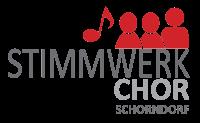 Logo von Stimmwerk e.V. in grauer und roter Farbe mit weißem Hintergrund