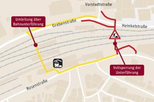 Vollsperrung der Unterführung Richtung Vorstadtstraße.