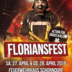 Plakat Floriansfest aus dem Jahr 2019 mit einem Feuerwehrmann im Hintergrund