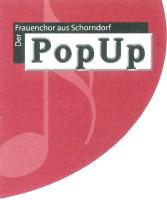 Logo des Schorndorfer PopUp Chors in den Farben schwarz, weiß und rot
