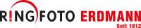 Logo der Firma Ringfoto Erdmann in roter und schwarzer Schrift mit weißem Hintergrund
