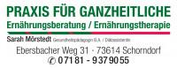 Logo der Praxis für Ganzheitliche Ernährungsberatung Sarah Mörstedt in grüner und schwarzer Schrift