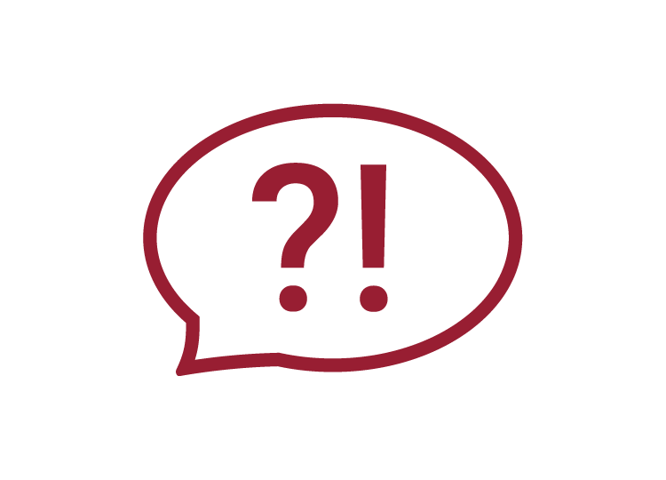 Icon Sprechblase mit roter Umrandung und weißem Hintergrund