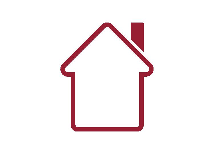 Icon Haus mit roter Umrandung und weißem Hintergrund