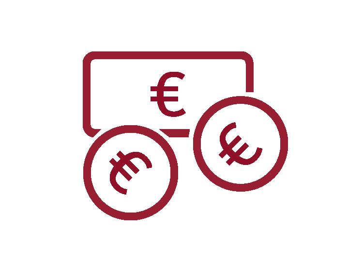 Icon Geld mit roter Umrandung und weißem Hintergrund