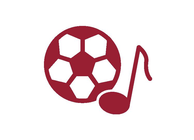 Icon Fußball und Musiknote mit roter Umrandung und weißem Hintergrund