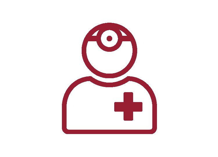 Icon Doktor mit roter Umrandung und weißem Hintergrund