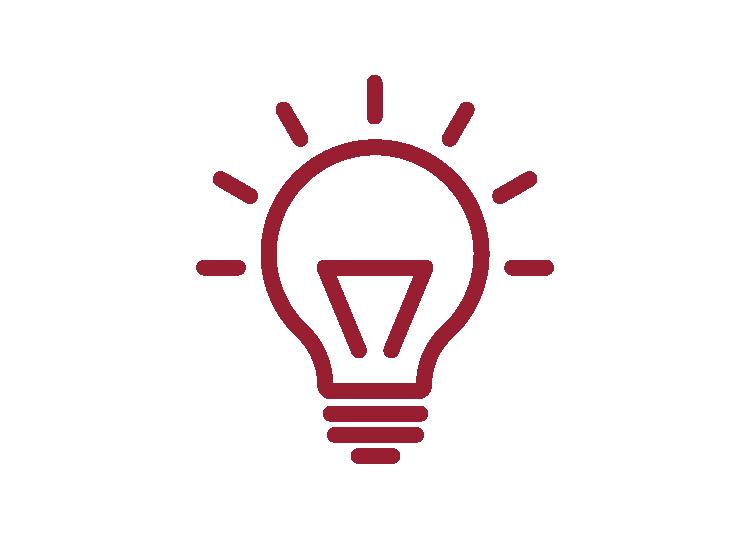Icon Glühbirne mit roter Umrandung und weißem Hintergrund