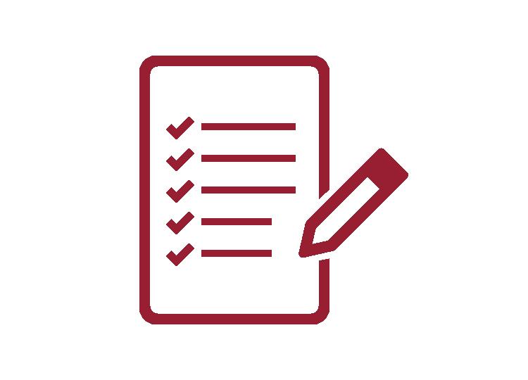 Icon Aufgabenliste mit roter Umrandung und weißem Hintergrund
