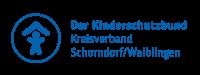 Logo des Kinderschutzbundes in blauer Schrift mit weißem Hintergrund