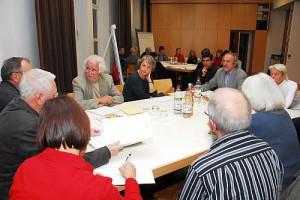 Einige Personen sitzen gemeinsam an einem Tisch
