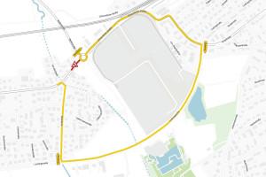 Die Umleitung erfolgt aus Richtung B29 kommend entlang Schorndorfer Str. (Richtung Schorndorf Zentrum), über Lange Straße, Burgstraße, Lortzingstraße, Im Rehfeld.