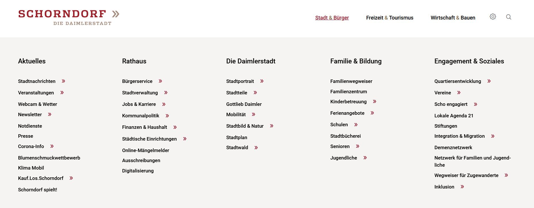 Menü: Stadt & Bürger
