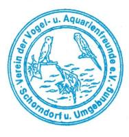 Logo des Vereins der Vogel- und Aquarienfreunde Schorndorf und Umgebung in blauer Schrift mit weißem Hintergrund