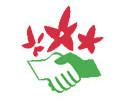 Logo der NaturFreunde mit zwei schüttelnden Händen und Blumen in den Farben rot und grün