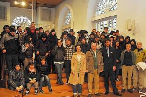 Schülerinnen aus Rentería beim Empfang im Rathaus