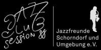 Logo Jazzclub Session 88 in weißer Schrift mit schwarzem Hintergrund