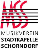 Logo des Musikvereins Stadtkapelle Schorndorf in den Farben rot, schwarz und weiß