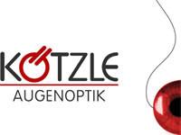 Logo der Firma Kötzle Augenoptik in den Farben grau und rot mit weißem Hintergrund