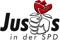 Logo der Jusos in der SPD in schwarzer Schrift mit weißem Hintergrund