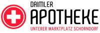 Logo der Daimler Apotheke in roter und schwarzer Schrift mit weißem Hintergrund
