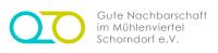 Logo von Gute Nachbarschaft im Mühlenviertel in den Farben grau, grün und blau mit weißem Hintergrund