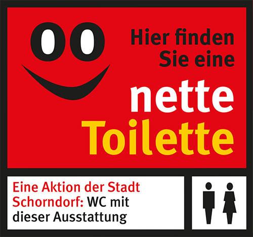 """An diesen Aufklebern sind die """"netten Toiletten"""" zu erkennen."""