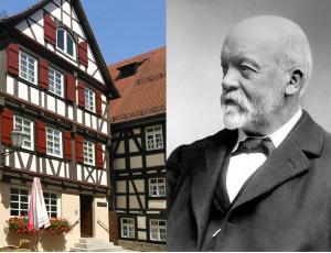 Links das Geburtshaus von Gottlieb Daimler, rechts Schwarz-Weiß Porträt von Gottlieb Daimler
