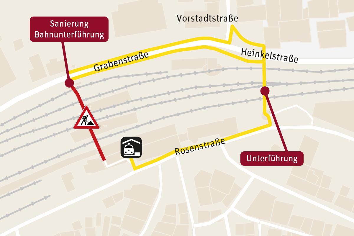 Im 1. Bauabschnitt (1. bis 10. März) Zugang nur über den Haupteingang. (Plan: Stadtverwaltung Schorndorf/HERE/maps4news)