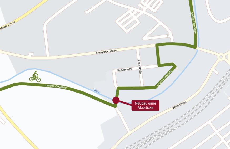 Über die Rems entsteht eine neue Verbindung für Fußgänger und Radfahrer.