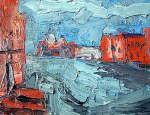 Gemälde einer Stadt in blau und rot