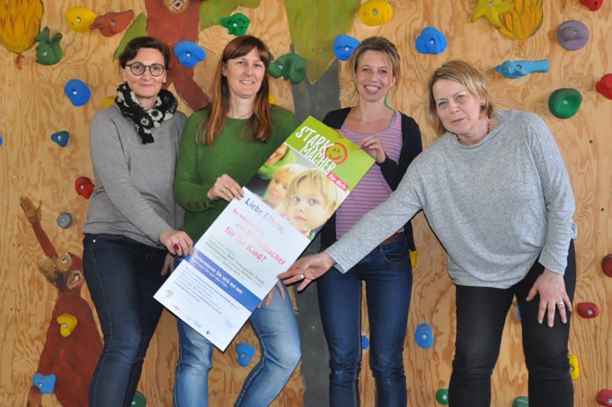 Christina Meißner (Kinderreich), Petra Schiek (Leiterin der Reinhold-Maier-Schule), Ines Pfeil-Bürkle (Kinderreich), Christine Grund-Schäfer (Starkmacherin).