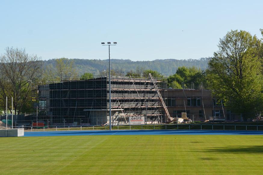 Der Neubau des Bewegungskindergartens Purzelbaum im Sportpark Rems schreitet immer weiter voran.
